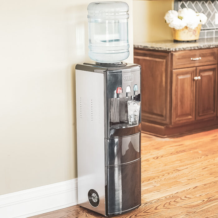A water cooler in a home kitchen