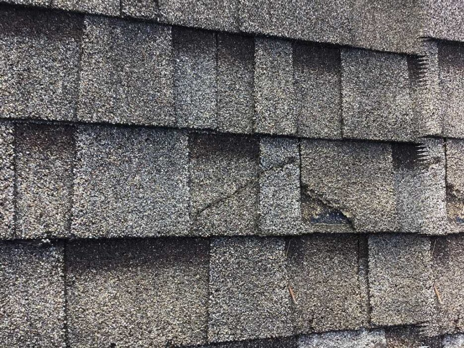 Damage to the roof shingles