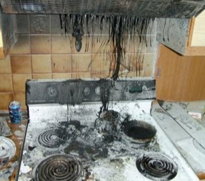Fire and smoke damage after a kitchen fire