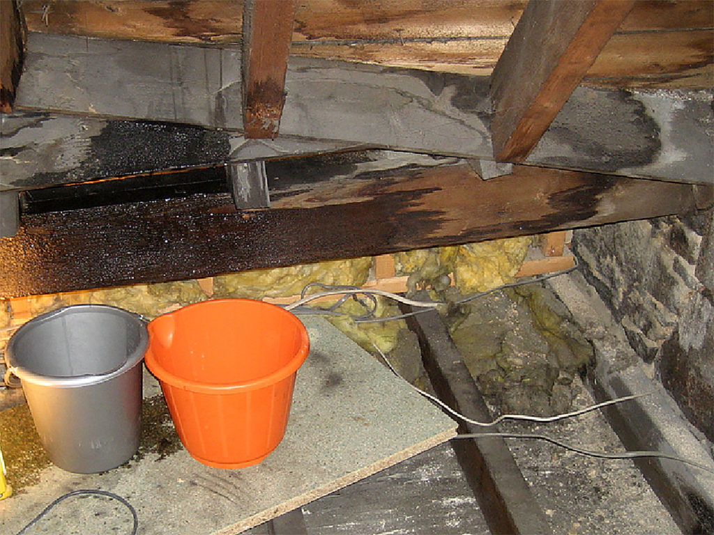 Roof leak from the inside of an attic