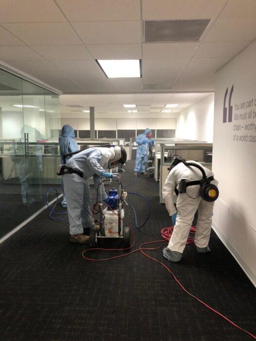 Decontamination team with equipment