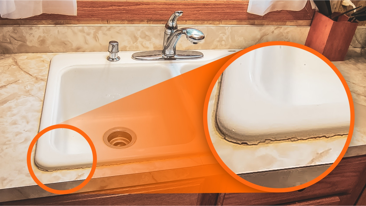 Cracked caulking around a sink