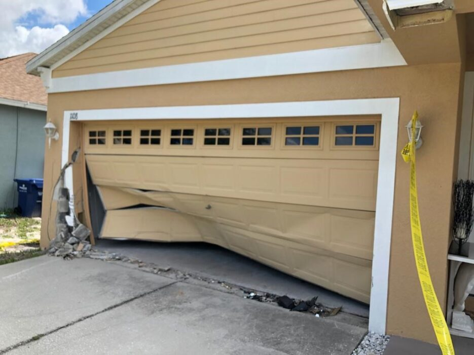 Damage to a garage from being hit by a car