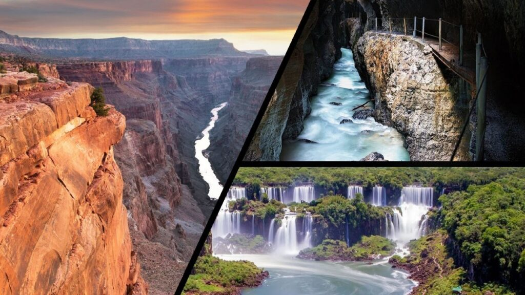 The Grand Canyon, Partnach Gorge, and Iguaza Falls are all wonders of nature caused by millennia of erosion - water damage.