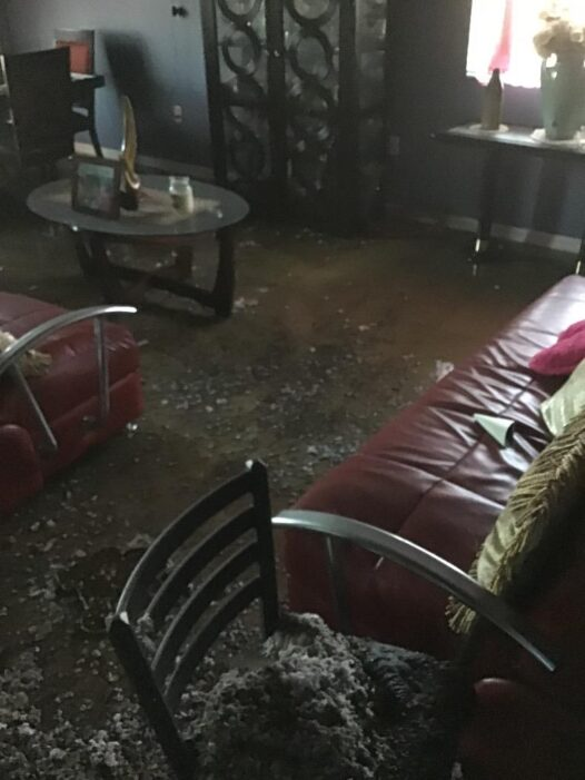 Standing water after a fire