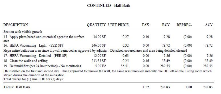 More lines of the hall bath portion of the category 2 estimate.